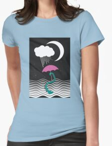 The octopus and the sea (on a rainy day) Womens Fitted T-Shirt