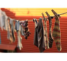 socks drying, boca, buenos aires, argentina Photographic Print