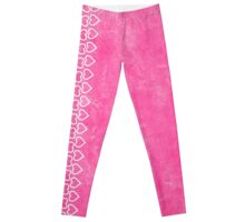 lip balm pink with hearts Leggings