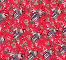 flying moth pattern red by sriknick