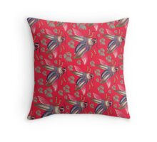flying moth pattern red Throw Pillow