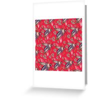 flying moth pattern red Greeting Card