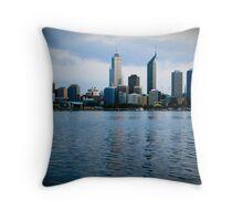 Blue Perth City Skyline Throw Pillow