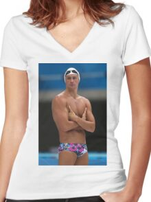 Swimming Ryan Lochte Top Women's Fitted V-Neck T-Shirt
