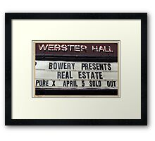 Webster Hall billboard in NYC Framed Print
