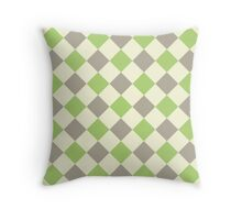 Green Brown Yellow Argyle Throw Pillow
