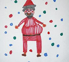 Santa In The Snow (made by my daughter) by Elizabeth Burton