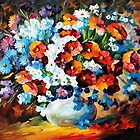 Poppies And Cornflowers — Buy Now Link - www.etsy.com/listing/224584711 by Leonid  Afremov