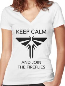 Keep calm and join the Fireflies Women's Fitted V-Neck T-Shirt