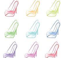 Colorful Rainbow X Ray High Heel by Kteis