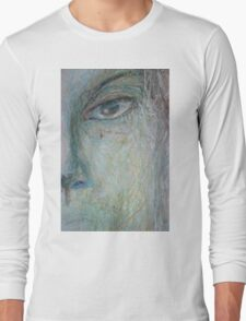 Faces - Close up 1 - Portrait In Black And White Long Sleeve T-Shirt