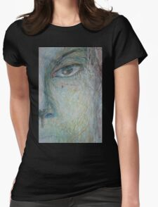 Faces - Close up 1 - Portrait In Black And White Womens Fitted T-Shirt