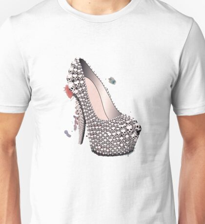 Skull Shoe - Spine Heel - Fashion High Heel Unisex T-Shirt