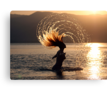 Carefree in the sun and sea Canvas Print