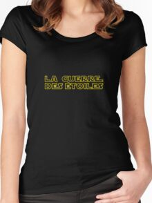 La Guerre des Etoiles (Star Wars classic logo in French) Women's Fitted Scoop T-Shirt