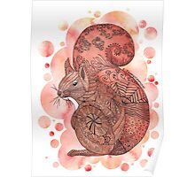 Zentangle Red Squirrel with Bubble Background Poster