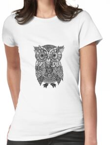 Zentangle Owl Womens Fitted T-Shirt