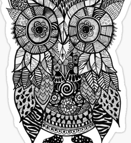 Zentangle Owl Sticker