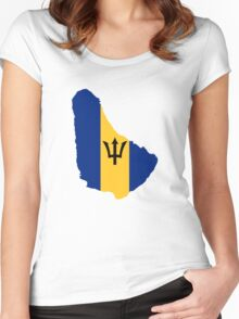 Barbados Flag Map  Women's Fitted Scoop T-Shirt