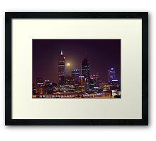 Moonrise Over Perth City  Framed Print
