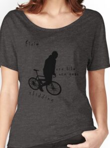 Fixie - one bike one gear - skidding (black) Women's Relaxed Fit T-Shirt