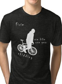 Fixie - one bike one gear - skidding (white) Tri-blend T-Shirt
