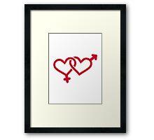 Male female red heart Framed Print