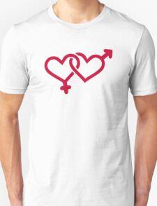 Male female red heart Unisex T-Shirt
