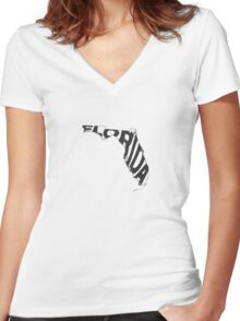 Florida State Word Art Women's Fitted V-Neck T-Shirt