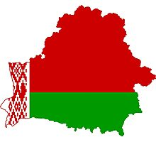 Belarus Flag Map Photographic Print