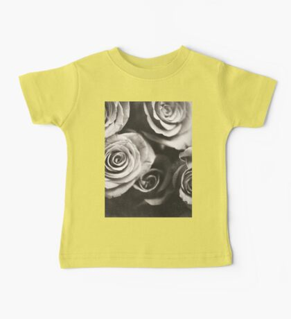 Medium format analog black and white photo of white rose flowers Baby Tee