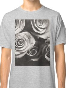Medium format analog black and white photo of white rose flowers Classic T-Shirt