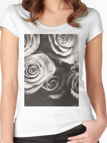 Medium format analog black and white photo of white rose flowers Women's Fitted Scoop T-Shirt