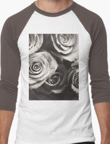 Medium format analog black and white photo of white rose flowers Men's Baseball ¾ T-Shirt