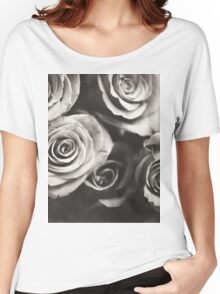 Medium format analog black and white photo of white rose flowers Women's Relaxed Fit T-Shirt