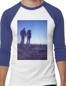 Romantic couple walking holding hands on beach in blue Medium format color negative film photo Men's Baseball ¾ T-Shirt