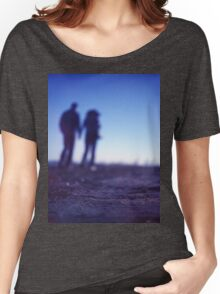 Romantic couple walking holding hands on beach in blue Medium format color negative film photo Women's Relaxed Fit T-Shirt
