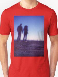 Romantic couple walking holding hands on beach in blue Medium format color negative film photo Unisex T-Shirt