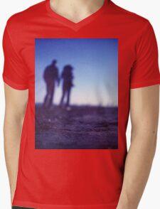 Romantic couple walking holding hands on beach in blue Medium format color negative film photo Mens V-Neck T-Shirt