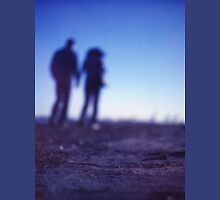 Romantic couple walking holding hands on beach in blue Medium format color negative film photo Unisex T-Shirt