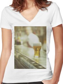 Glass of beer in Spanish tapas bar square Hasselblad medium format  c41 color film analogue photograph Women's Fitted V-Neck T-Shirt