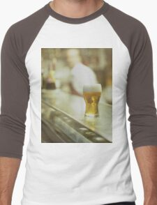Glass of beer in Spanish tapas bar square Hasselblad medium format  c41 color film analogue photograph Men's Baseball ¾ T-Shirt