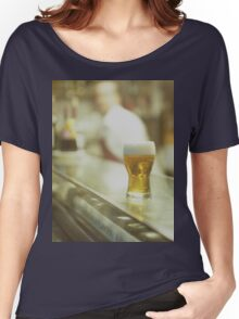 Glass of beer in Spanish tapas bar square Hasselblad medium format  c41 color film analogue photograph Women's Relaxed Fit T-Shirt