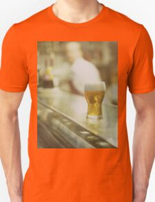 Glass of beer in Spanish tapas bar square Hasselblad medium format  c41 color film analogue photograph Unisex T-Shirt