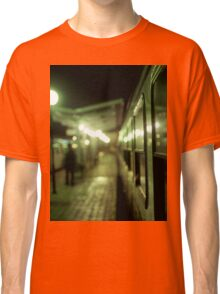 Old train at night in empty station green square Hasselblad medium format film analog photograph Classic T-Shirt