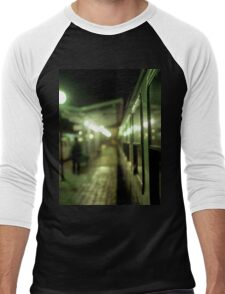 Old train at night in empty station green square Hasselblad medium format film analog photograph Men's Baseball ¾ T-Shirt
