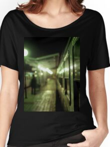 Old train at night in empty station green square Hasselblad medium format film analog photograph Women's Relaxed Fit T-Shirt