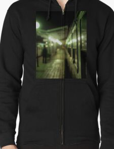 Old train at night in empty station green square Hasselblad medium format film analog photograph Zipped Hoodie
