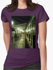 Old train at night in empty station green square Hasselblad medium format film analog photograph Womens Fitted T-Shirt