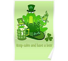 Funny St Patrick's day frogs, shamrocks, beer & text Poster